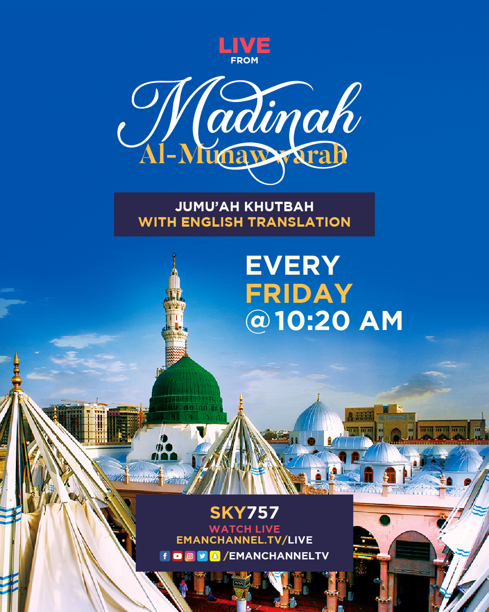 Jumu'ah Khutbah live from Prophet's ﷺ Mosque, today @10:20am  #islamic #islam #allah #muslim https://t.co/Wxq1lUD56d