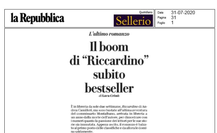 """Su @Repubblica @LaraCrino racconta #Riccardino, primo in classifica. """"#Montalbano e #Camilleri guardano fuori dalla cornice, verso di noi, come in uno dei quadri più celebri della pittura siciliana, il Ritratto di ignoto marinaio di Antonello da Messina"""" https://t.co/bWcR33v8c0"""