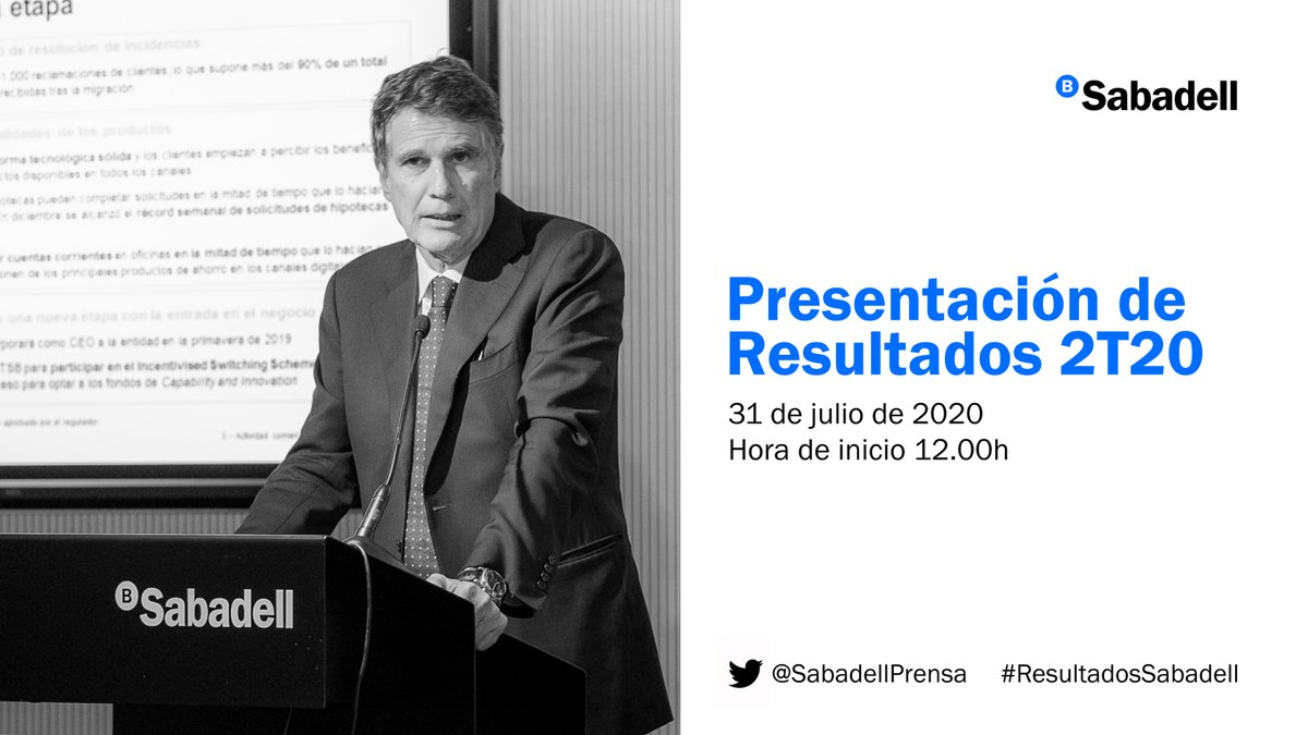 A partir de las 12h, Jaime Guardiola, CEO de @BancoSabadell presenta los resultados del segundo trimestre de 2020 #ResultadosSabadell -> @SabadellPrensa  #ResultatsSabadell -> @SabadellPremsa  #SabadellResults -> @SabadellPress  #endirecto 🔴 https://t.co/7uBsXxKdtk https://t.co/m8T4Q8lrUg