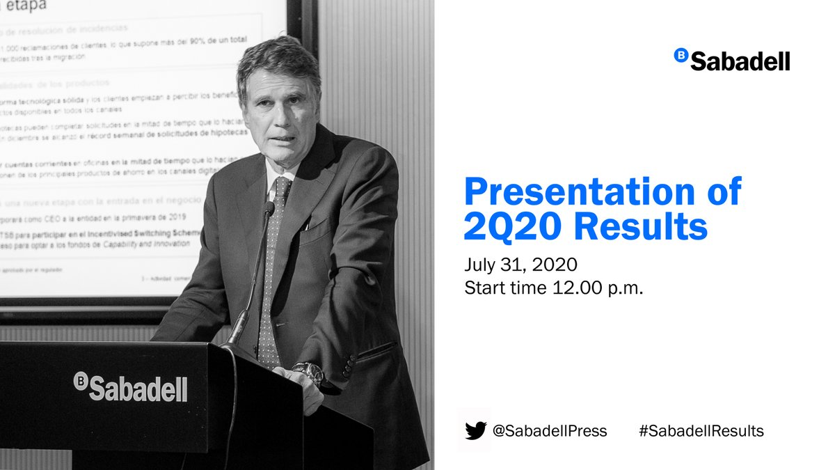 At 12pm, Jaime Guardiola, CEO of @BancoSabadell will present the second quarter 2020 results #ResultadosSabadell -> @SabadellPrensa  #ResultatsSabadell -> @SabadellPremsa  #SabadellResults -> @SabadellPress  Follow it #live 🔴https://t.co/7MNAyUjZtq https://t.co/B2SNuIDXo0