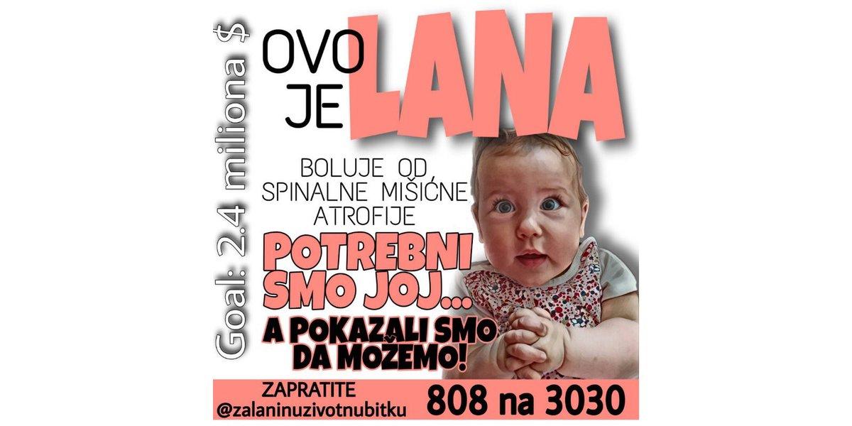 Dragi naši, beskrajno hvala❤️Ali idemo dalje! Pozivamo sve dobre ljude da se pridruže akciji prikupljanja novca za malenu Lanu Jovanović, koja boluje od iste bolesti kao i naša Sofija, jer i njoj smo potrebni! Pošaljite sms 808 na 3030, RS/BiH poziv na 1416 #ZaLaninuŽivotnuBitku