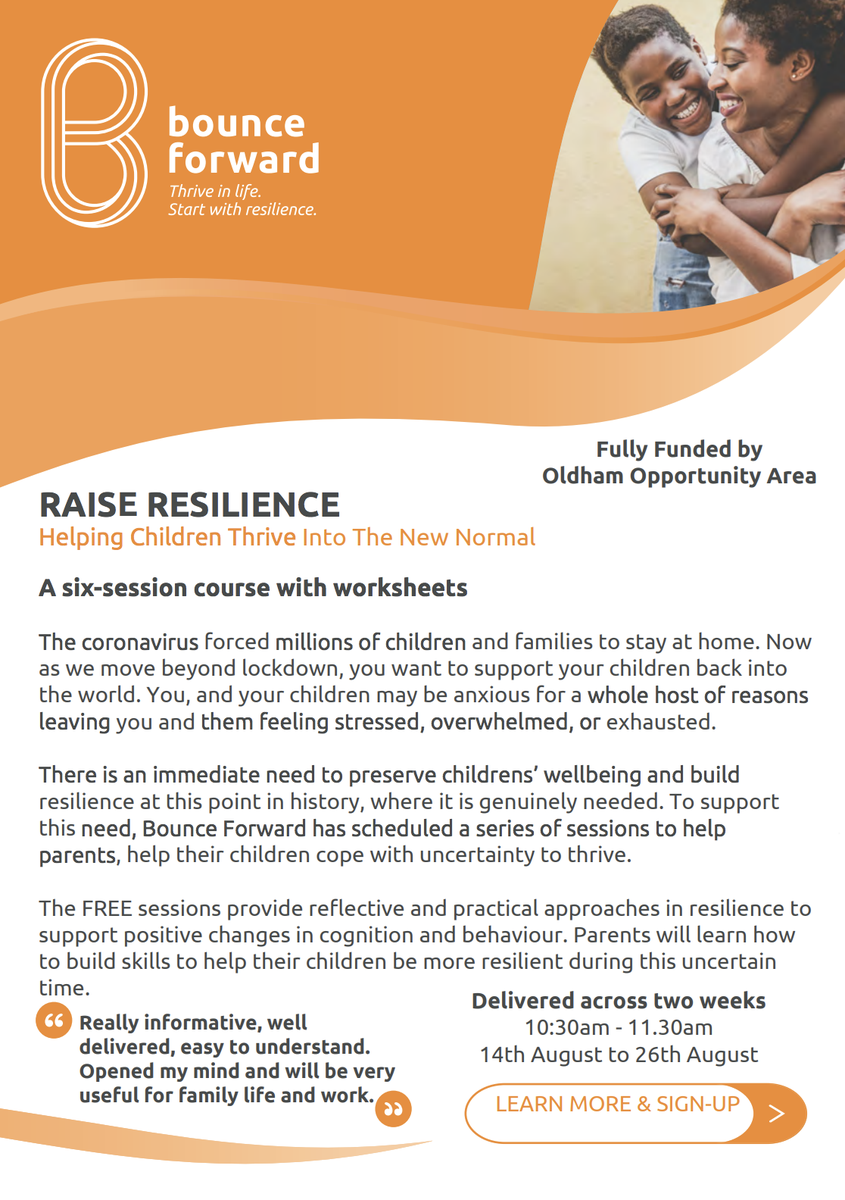 @bounceforward are rolling out a new training course designed to help families across Oldham cope with the current uncertainty and thrive in our new normal. The sessions are FREE for any parents who wish to take part! ➡️bounceforward.com/bounce-forward…