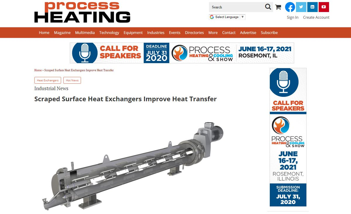 test Twitter Media - HRS Heat Exchangers is featured in @ProcessHeating on how HRS's scraped surface heat exchangers can provide thermal treatment for products such as viscous foods and slurries, which have a high fouling potential. Read more: https://t.co/Mwe75hJUBp #heatexchangers #thermaltreatment https://t.co/WJbNc9meEg