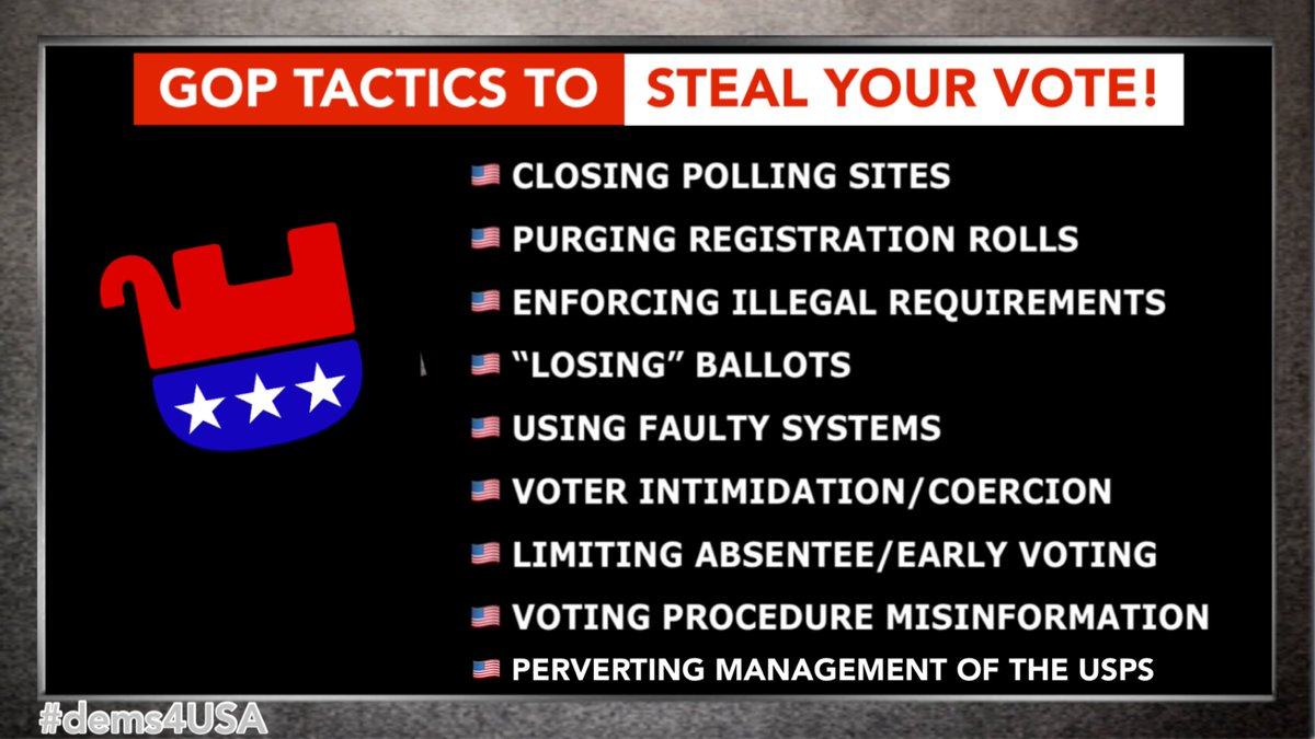 """@IslandGirlPRV If the GOP can't win through a fair election, they will not hesitate to use strategies that are illegal, underhanded, sleazy and (add your own adjectives). """"Win by any means necessary"""" has ALWAYS been their driving force. We must outsmart & outplay them! #dems4USA #ONEV1"""
