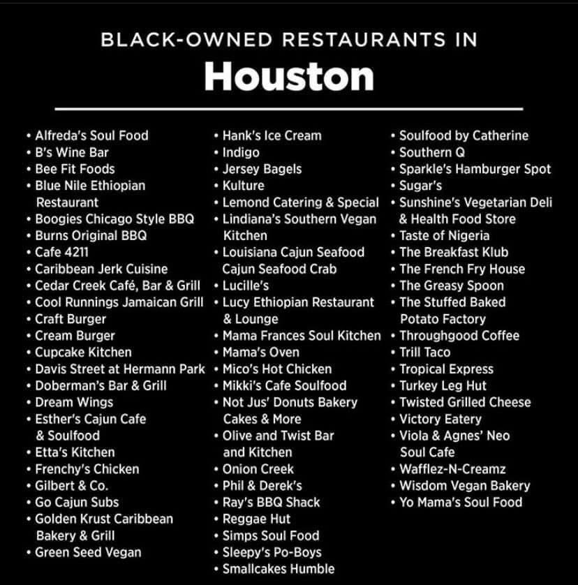 "Just incase your timeline went ""back to normal."" Here are some Black Owned restaurants in Texas."