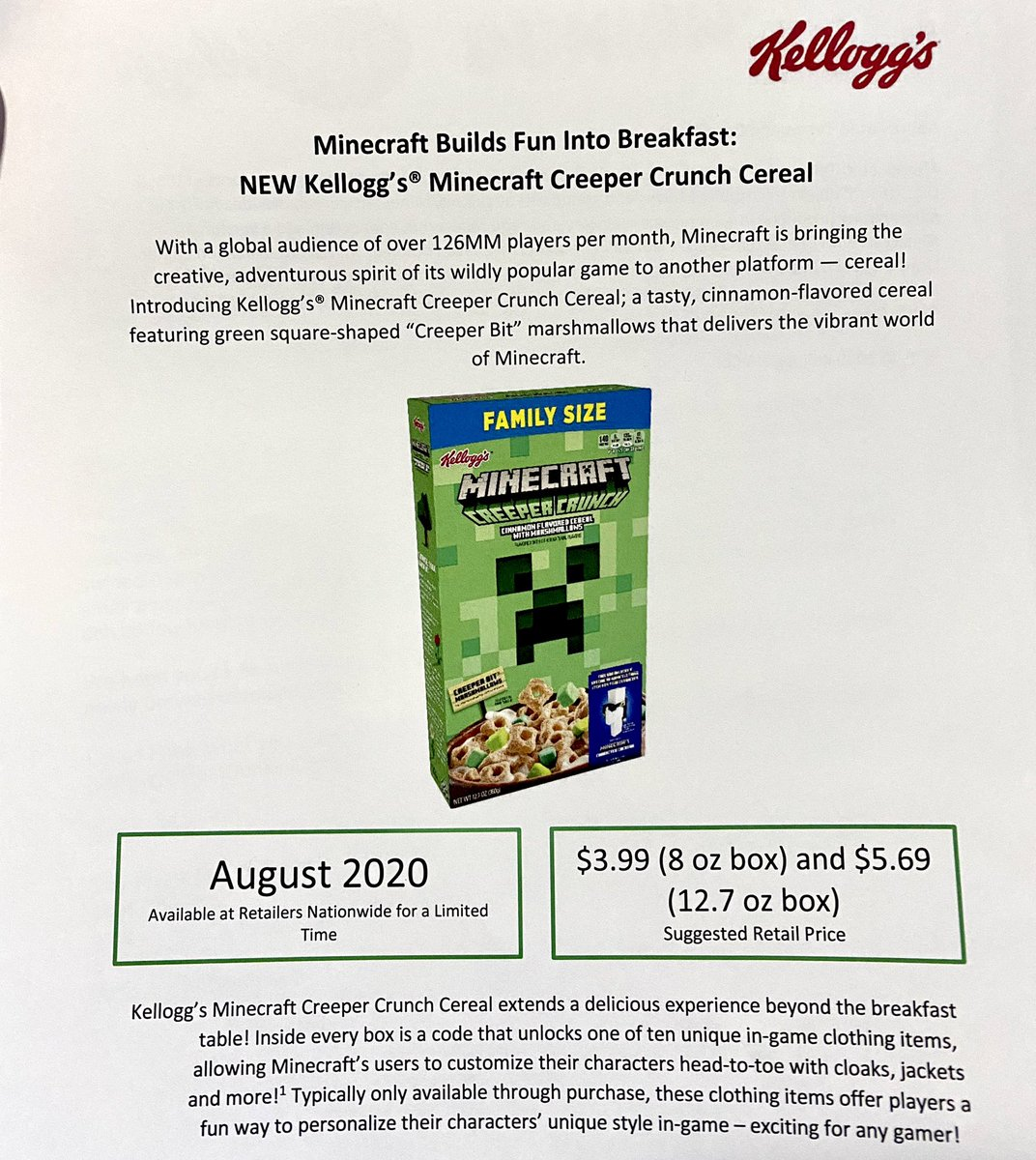 Jason Liebig Pa Twitter It S Minecraft Creeper Crunch Cereal Thanks To Kelloggsus For Sending Me Out A Preview Of This It S Arriving In Stores In August So Basically Tomorrow Minecraft Has