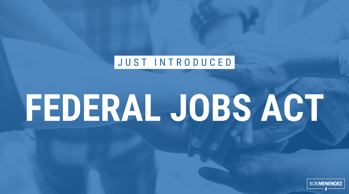 NEW BILL: Diversity & workplace inclusion is much more than a vision statement—especially when it comes to federal agencies. Our Federal Jobs Act strives to make a government by the people and for the people LOOK more like the people it represents. More: menendez.senate.gov/news-and-event…