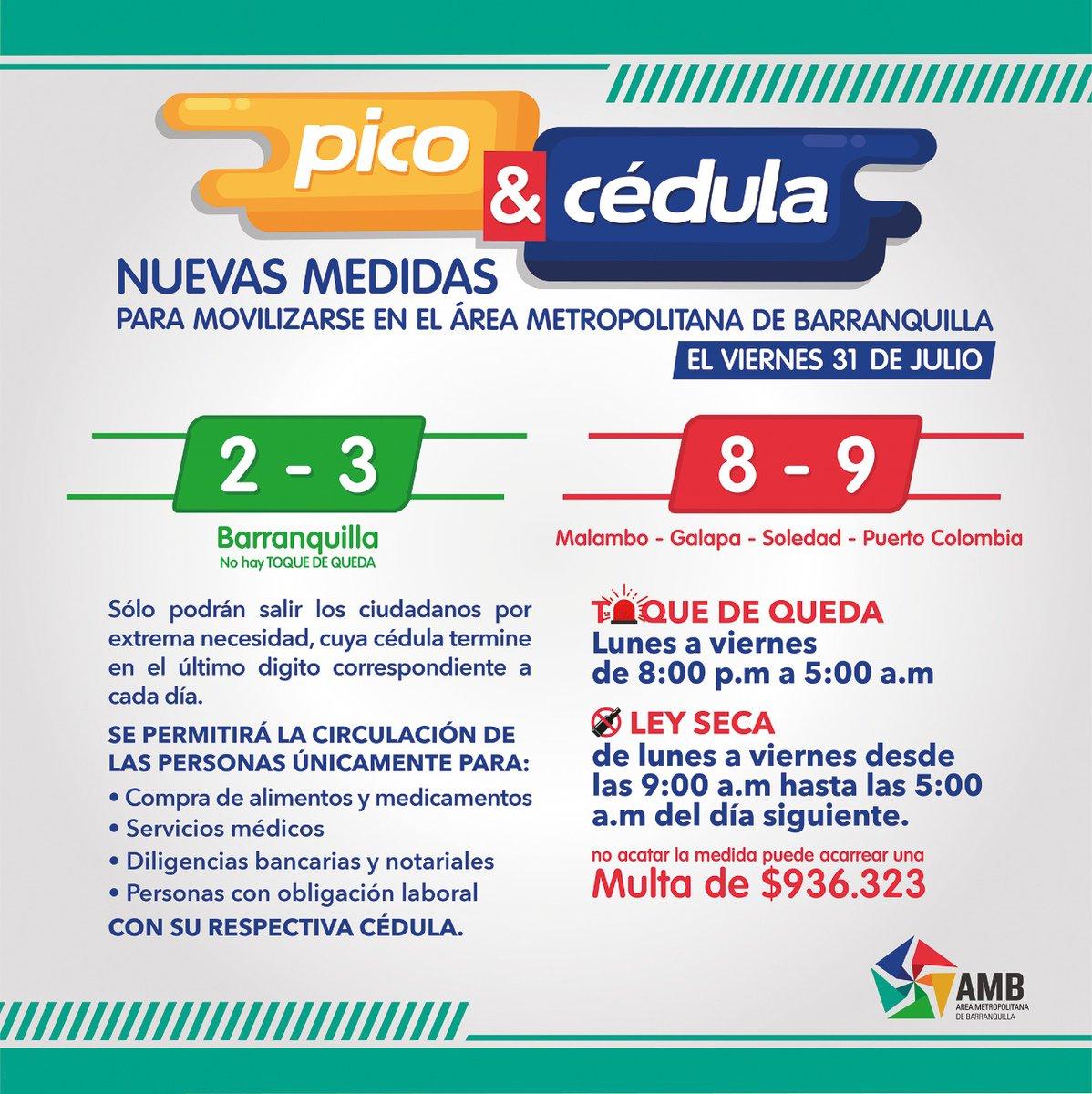 """¡Buenos días! ☀️ Le recordamos a la comunidad el """"Pico y Cédula"""" entre B/quilla y su Área Metropolitana para aquellas personas, cuya cédula termine en el último dígito correspondiente a cada día.  📍 Barranquilla: 2️⃣ y 3️⃣  📍 Malambo, Galapa, Soledad y Puerto Colombia: 8️⃣ y 9️⃣ https://t.co/YBK8nR6zJt"""