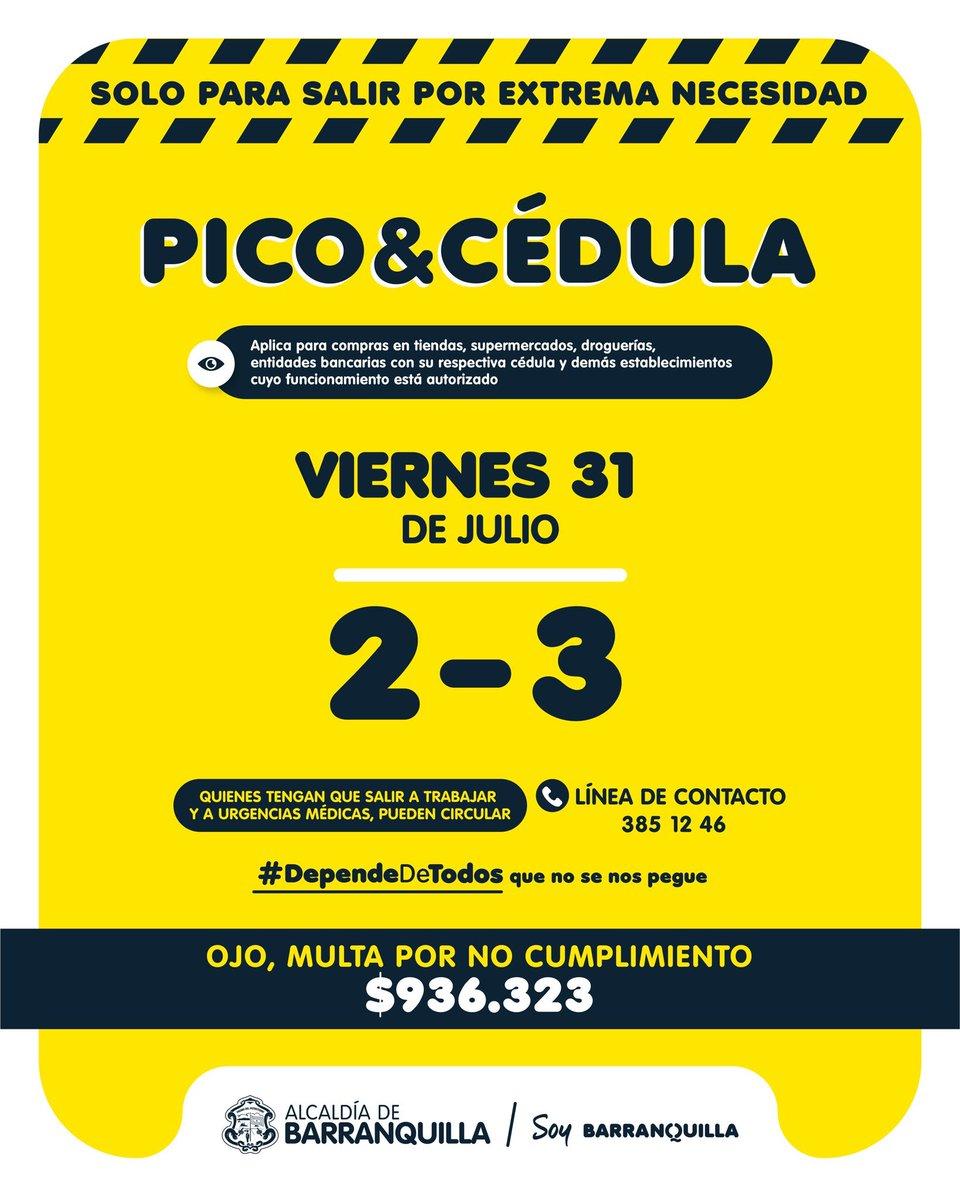No lo olvide: Pico y Cédula para hoy 31 de julio en Barranquilla 2 - 3. Recuerde que la ley seca empieza esta noche a las 20:00 y finaliza el lunes a las 05:00. @alcaldiabquilla @FajardoClemente. https://t.co/cbJ2Tdv7Pl