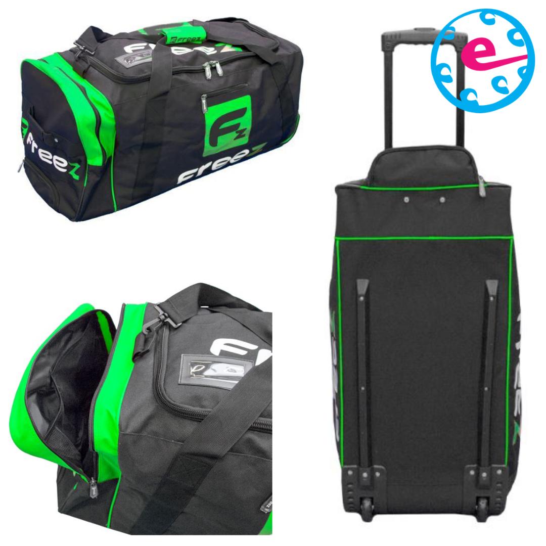 Freez Z-180 WHEEL BAG BLACK/GREEN  Check the product video here: http://ow.ly/FgN150AH6ot  #floorball #innebandy #salibandy #unihockey #efloorball #sportsbag #freezpic.twitter.com/Htn2DKL6sO