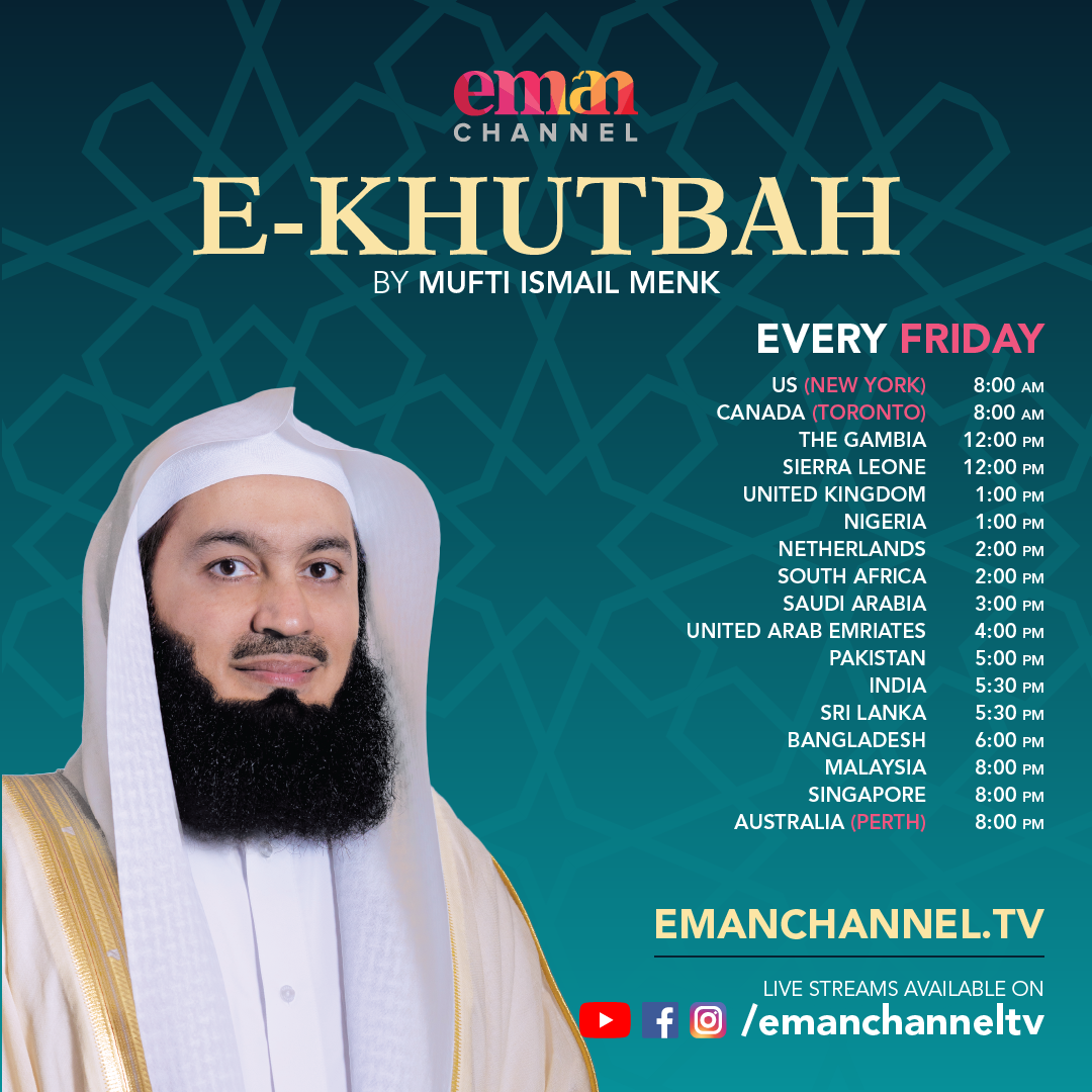 A brand new lecture by Mufti Menk will be streaming from 1pm (UK). Do check what time this corresponds with in your time zone.   #Islam #Muslim #e-khutbah #eKhutbah https://t.co/Bgcccd2Ufd