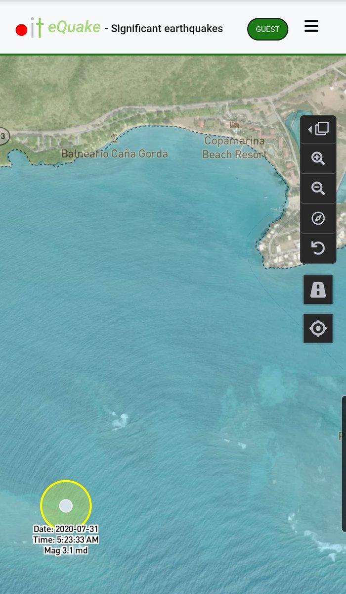 Informe de actividad sísmica significativa para hoy 200731 820am. Hasta el momento registramos 1 evento en la costa de @GuanicaOficial. En tiempos de crisis estamos #ContigoTodoElCamino pic.twitter.com/pGkOuqluxt