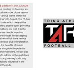 Image for the Tweet beginning: Tring Athletic has cancelled their