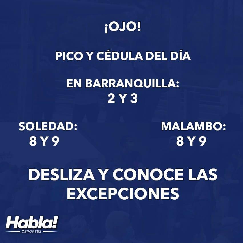 #Coronavirus ¡Mucho cuidado! Este es el pico y cédula que regirá en Barranquilla y el Atlántico en general durante el día de hoy. https://t.co/WJTy0dD91N  #QuedateEnCasa #LavateLasManos https://t.co/DikRqdnCvm