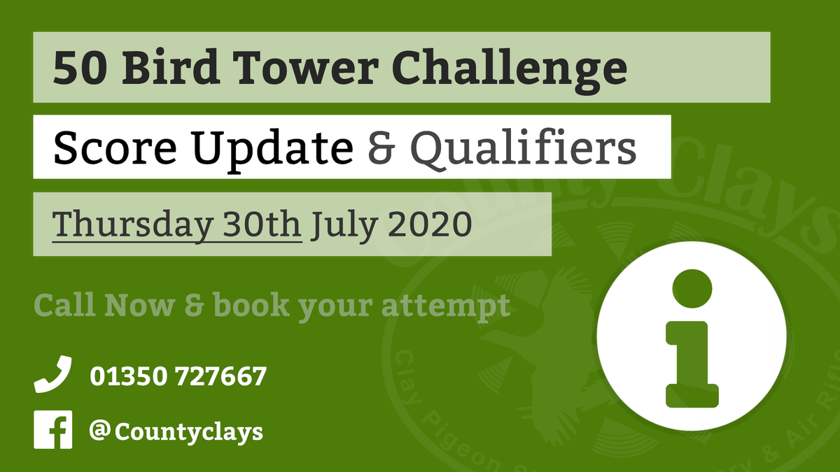 The mid-week update for our 50 Bird Tower Challenge is in, see the latest scores for our 50 Bird Tower Challenge on our Facebook page https://bit.ly/2YYTBe4  #claypigeon #shootingpic.twitter.com/nej21ewPIm