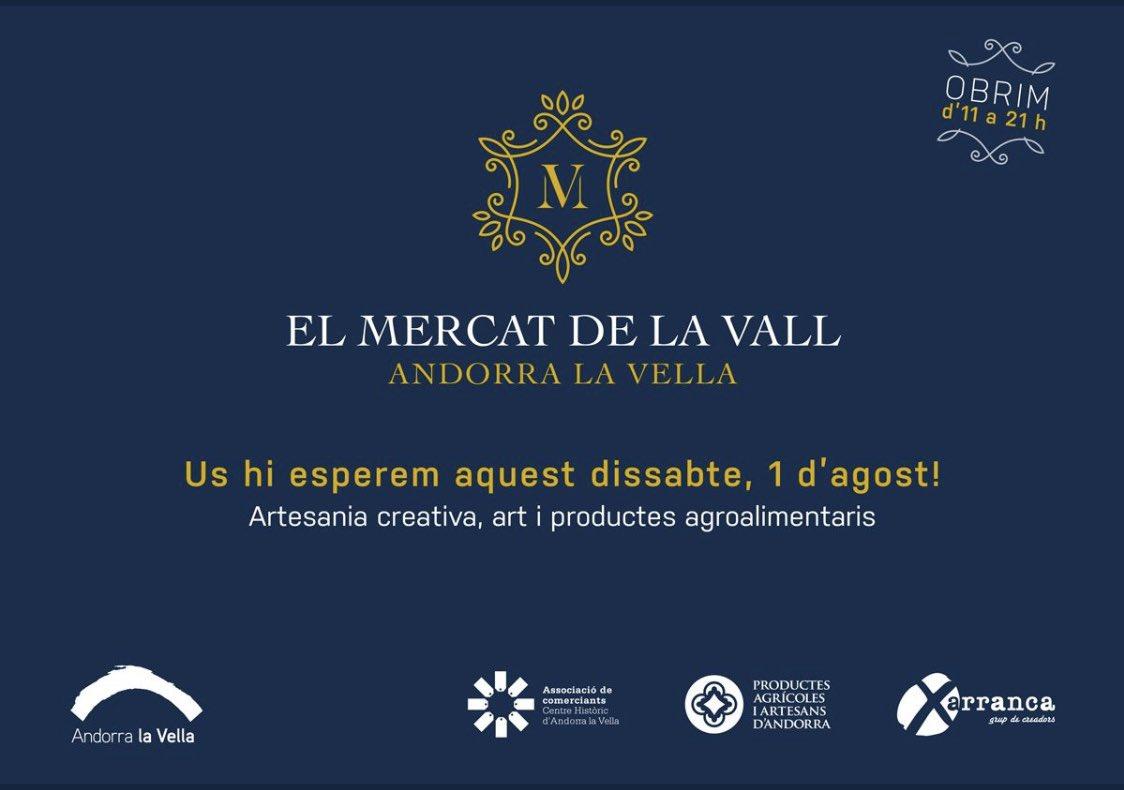 Demà tenim una cita!  Nova edició del Mercat de la Vall! Parades de roba, artesania, joies, gastronomia i al migdia... vermut!  #mercatdelavall #centrehistoric #proximitat #qualitat #onsino @AndorraCapital https://t.co/AoA1iQCTqL