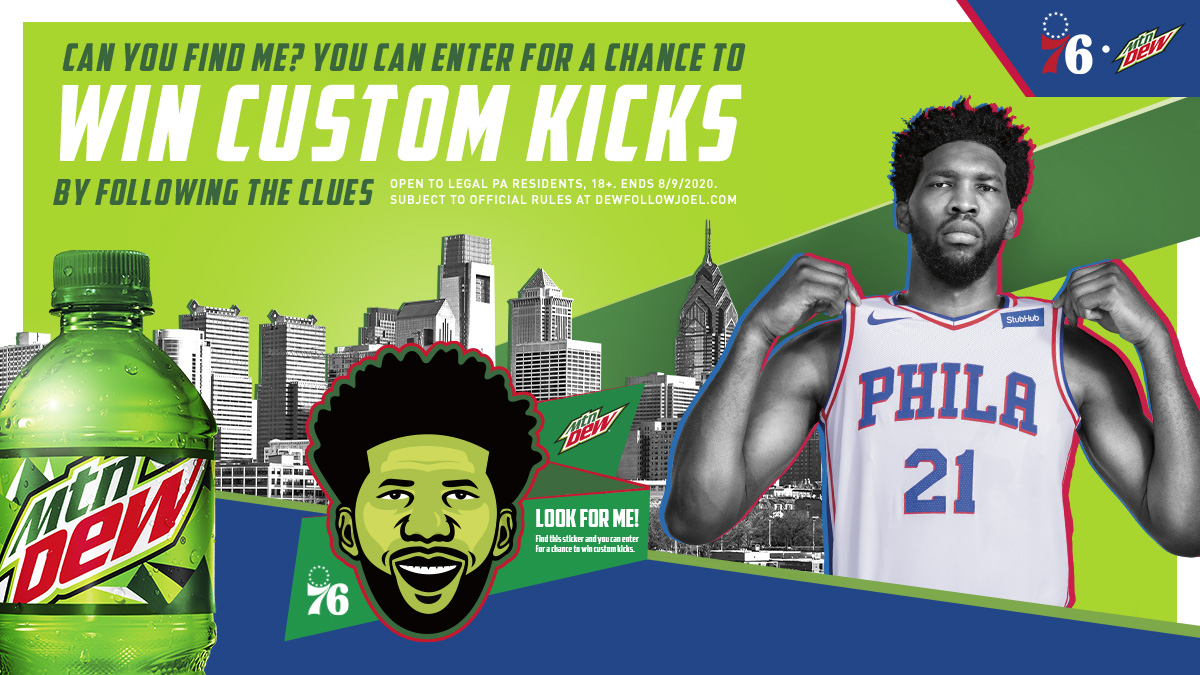 """You could win custom Joel Embiid sneakers! Solve Joel's clue below to find his sticker hidden in Philly. No Purchase Necessary.  #1: """"If you're SHOPPING for kicks, all's RITE on Aramingo. Head to aisle #21, step on the floor, and do the Dew.""""  𝘗𝘢𝘴𝘴-𝘱𝘩𝘳𝘢𝘴𝘦: 𝘒𝘐𝘊𝘒𝘚 https://t.co/47LhmpuLrl"""