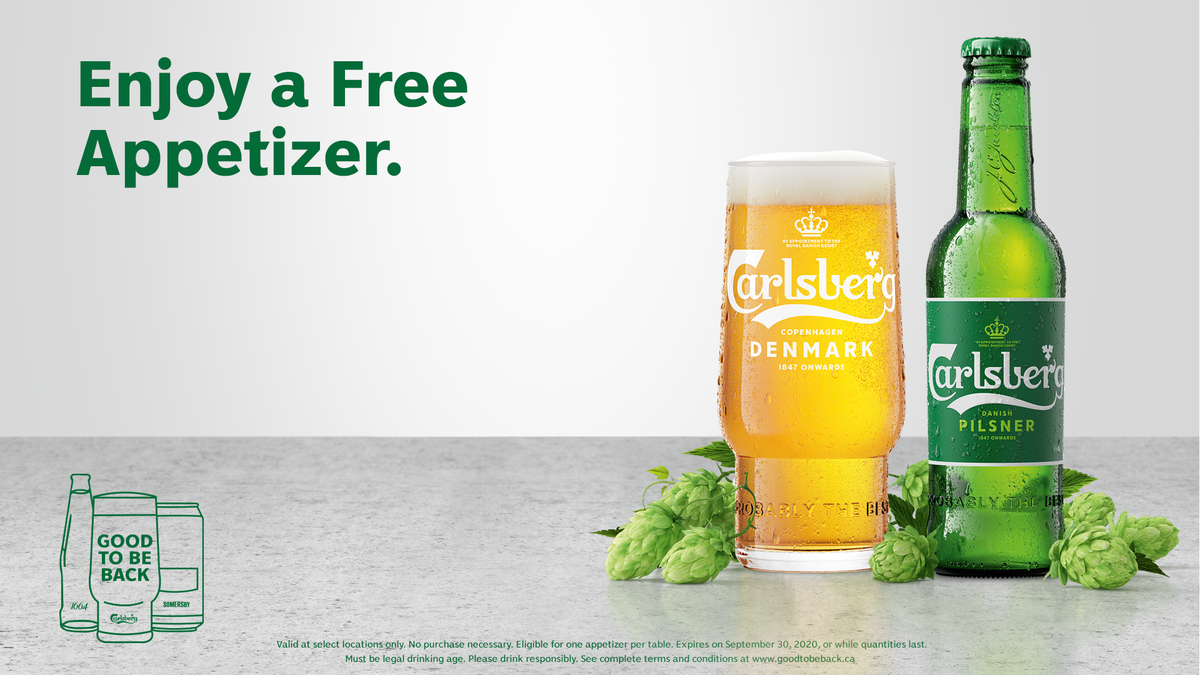 It's time to reunite with afriendand help support your local bars & restaurants!🙌  Just head to https://t.co/mMaYKefqtZ, invite a buddyto grab a beerat a participating location and then get a free appetizer on us.🍻🍽️😋  No Purchase Necessary.  #CarlsbergGoodToBeBack📸 https://t.co/IYIF2qmETR