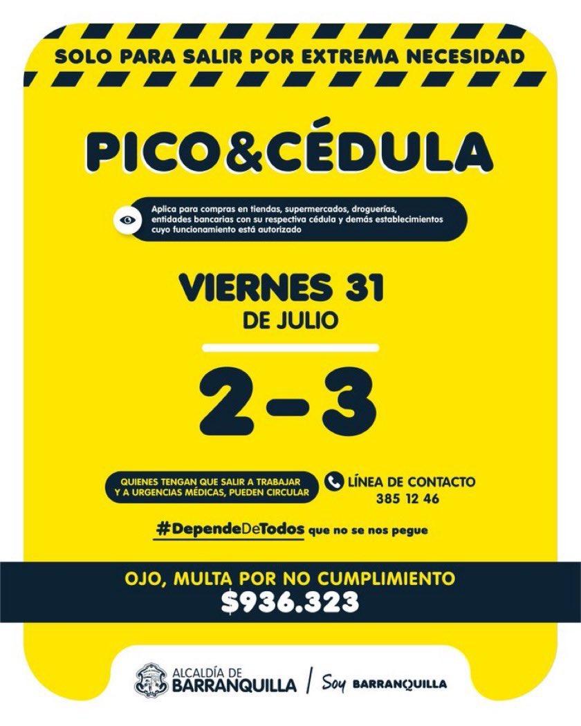 Tenga en cuenta el pico y cédula para hoy en Barranquilla. https://t.co/GNID0vTjdA