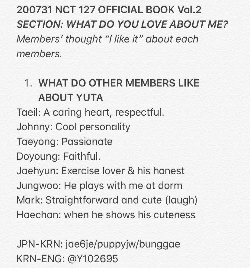 200731 NCT 127 OFFICIAL BOOK Vol.2 #YUTA  What do members like about Yuta & what does Yuta like about members? https://t.co/JarlizTxn3