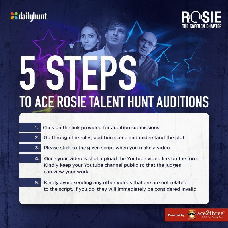 Follow the 5 steps given & increase your chances of winning the #RosieTalentHunt. Click on this talenthunt.dhunt.in/akoJr to send in your applications! #ProminentRole @vivekoberoi #PrernaVArora @mishravishal @girishjohar @IKussum @RosieIsComing