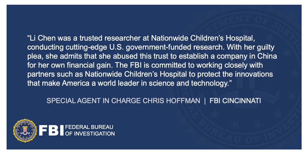 Researcher Pleaded Guilty to Conspiring to Steal Scientific Trade Secrets from Ohio Children's Hospital to Sell in China ow.ly/TfqV50ANpqw