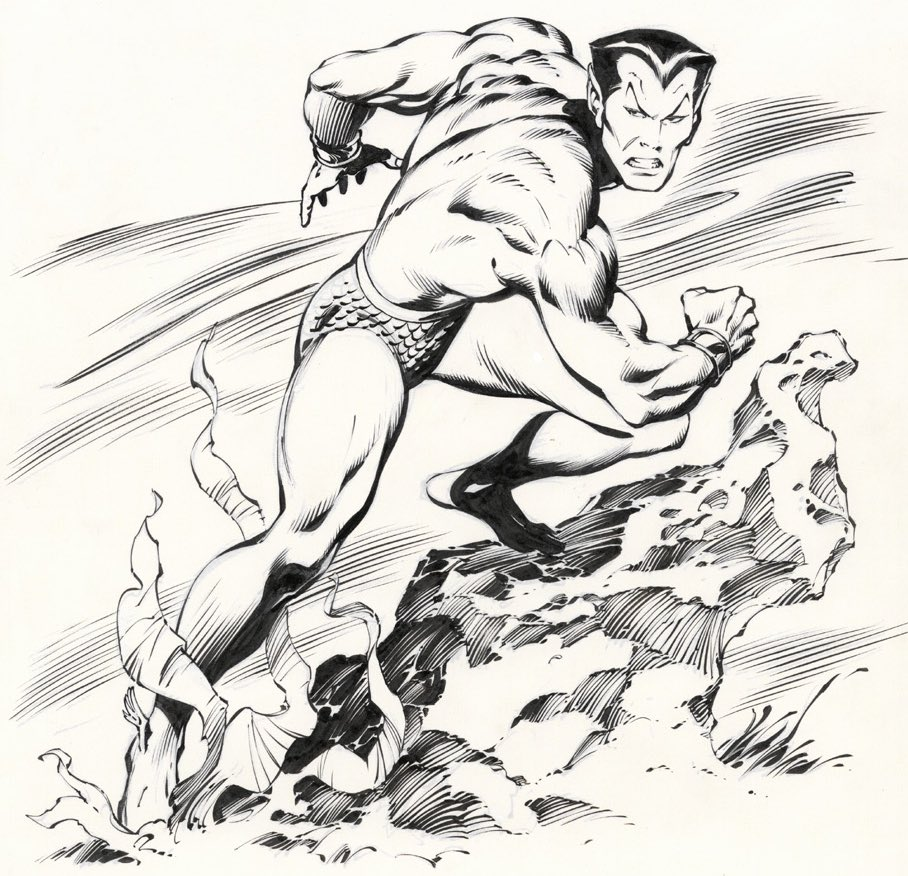 My favorite Big John Buscema illustration from my well worn How To Draw Comics the Marvel Way. Old school grace and power. Inked exclusively with a brush.