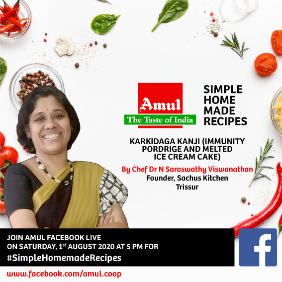 Join #Amul Facebook Live at 5 pm on 1st August 2020 for  #SimpleHomemadeRecipes  by Dr N Saraswathy Viswanathan, Founder, Sachus Kitchen, Trissur  Dr N Saraswathy will show to make Karkidaga Kanji (Immunity Pordrige and Melted Ice Cream Cake http://facebook.com/amul.coop/livepic.twitter.com/WLEDAZ1xWN