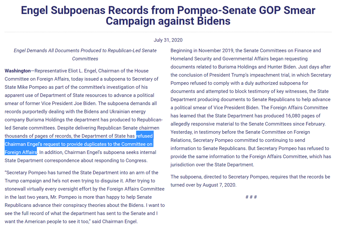Breaking In the realm of hyper-politicizing the State Dept, #Pompeo has apparently handed over thousands of pages of documents to Senate REPUBLICANS probing Biden-Burisma. But refuses even to provide duplicates to House Foreign Foreign Affairs Committee. Next move: A Subpoena