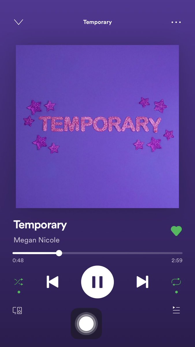 finally got home from work so I could go and listen to Temporary. What a beautiful and amazing song!!! It's honestly so good! So proud of you @megannicole 💕Its on repeat https://t.co/A3pLZwbJON