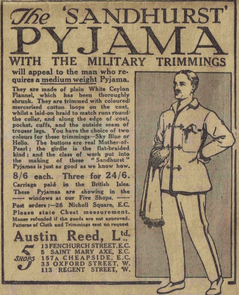 Flashbak Com On Twitter The Sandhurst Pyjama The Daily Mail Thursday November 21 1912