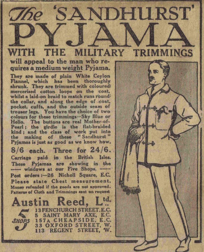 Flashbak Com On Twitter The Sandhurst Pyjama The Daily Mail Thursday November 21 1912