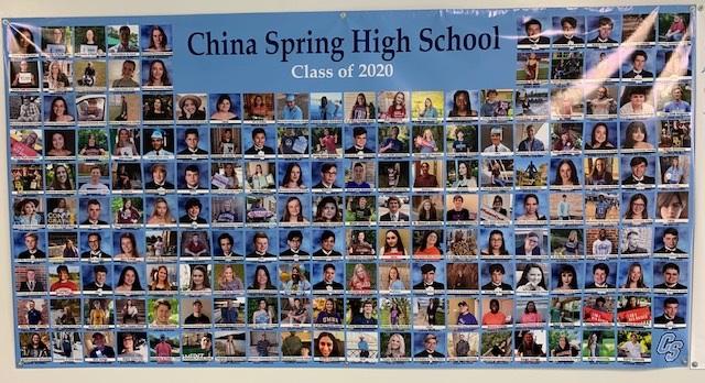 2020 Senior Banner is hanging beautifully in our CSHS hallway!! @China_Spring_HS @chinaspringisd