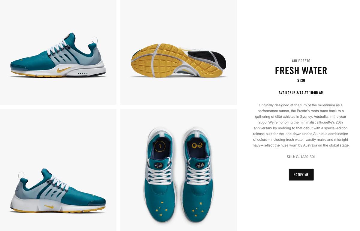 via SNKRS Nike Air Presto 'Australia