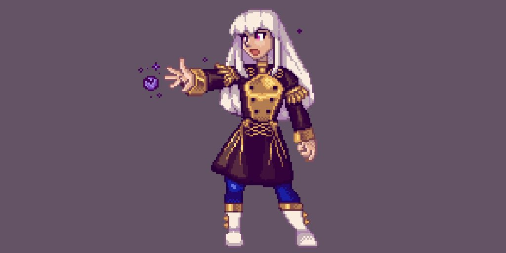 I haven't done #pixelart in a few years but have been getting back into it this past month. I've never done a big sprite so here Lysithia as practice 🔮 #fe3h