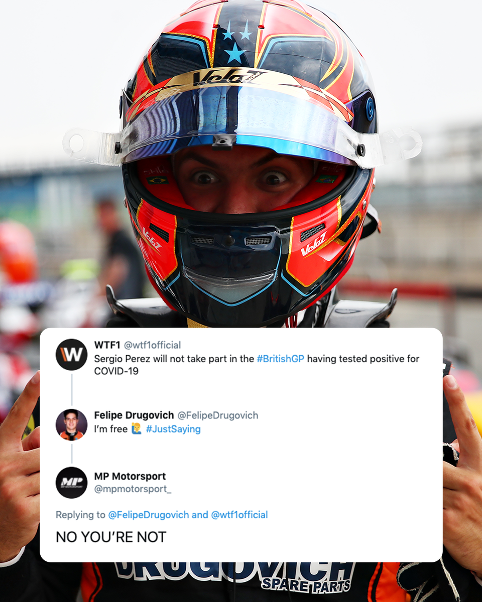😂😂😂  He was busy getting pole 😅  #BritishGP 🇧🇷 #F2 https://t.co/hT9F8hjlVF