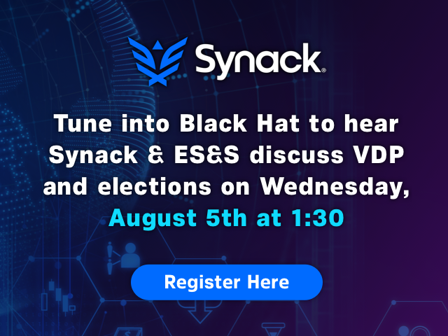 """Synack's talk at @BlackHatEvents with @MarkKuhr and @essvote, """"Building a Vulnerability Disclosure Program that Works for Election Vendors and Hackers,"""" is less than one week away. Secure your spot now! https://t.co/LFcC7ROO5c https://t.co/wUxU5uqesQ"""