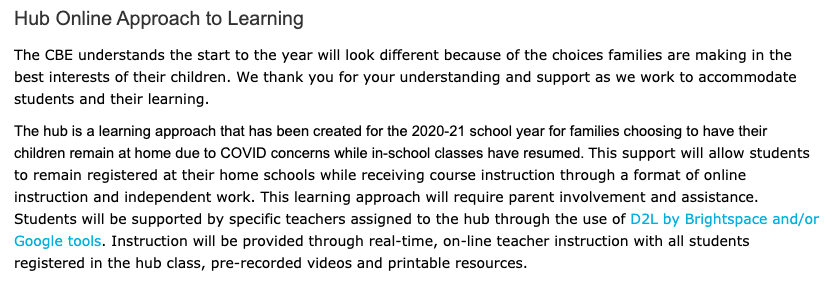 For those of you based in Calgary that are able to contemplate keeping kids home for schooling I've attached a link from the Calgary Board of Education  @yyCBEdu outlining a program for that. I hope it's useful to you  #yyc  https://cbe.ab.ca/about-us/school-culture-and-environment/health-and-wellness-in-school/Pages/hub-online-learning.aspx?fbclid=IwAR24S0D5urTkx8Jwn1nNcnDdq_YoibPzTwQew3Tw8wmZCbiTeod8dFWkl7E