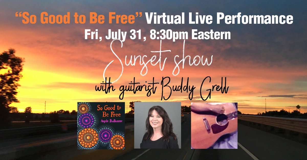 """Lil' show tonight - 8:30pm Eastern, Fri. July 31. Sunset show outdoors - live acoustic performance of my new song """"So Good to Be Free."""" Short and sweet! On Facebook Live: http://www.facebook.com/angelapredhomme  #liveacoustic #livestream #livestreamingmusic #livemusic #virtualconcert #Musicpic.twitter.com/LehxHWdzQd"""
