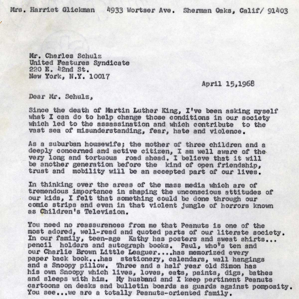 """Charles M. Schulz Museum on Twitter: """"✉️ *From our Archives* In 1968,  Schulz received a letter from Harriet Glickman, a mother and LA  schoolteacher, with a special request. ✉️ On 7/31/1968, Franklin"""