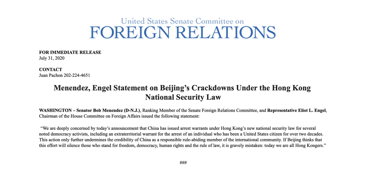 If Beijing thinks that this effort will silence those who stand for freedom, democracy, human rights and the rule of law, it is gravely mistaken: today we are all Hong Kongers. - @SenatorMenendez @RepEliotEngel
