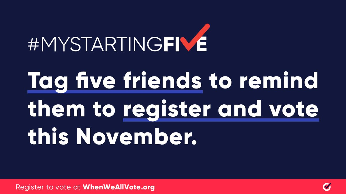 Excited that @jaytatum0 and @SHAQ are teaming up with @WhenWeAllVote! We all have a role to play in getting our loved ones registered and ready to vote. I hope you'll join us: Tag 5 friends to help them get ready to vote at weall.vote/mystartingfive and use #MyStartingFive.