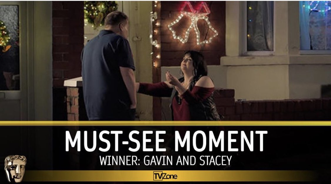 Congratulations Gavin & Stacey Christmas Special Winner of Bafta Must-See Moment. Voted by the public. #BAFTAS #BaftaTV #gavinandstacey @JKCorden @Fulwell73 @TidyProductions @babycowLtd #proud #castandcrew #makeupdesigner #barryisland pic.twitter.com/njCj8ZmZi3
