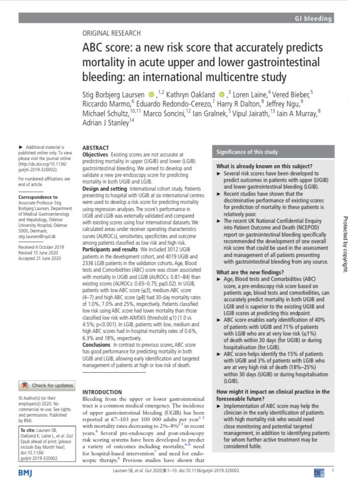do you ❤️new risk scores for GI bleeding? If so, check out the ABC score gut.bmj.com/content/early/… But may I start some real talk? We've got riskscorosis. it's time to prospectively see who these scores help and if they change management and improve outcomes. #gitwitter