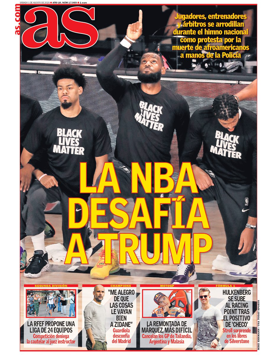 ✊🏿 La NBA desafía a Trump 📰 Esta es nuestra portada de hoy, 1 de agosto