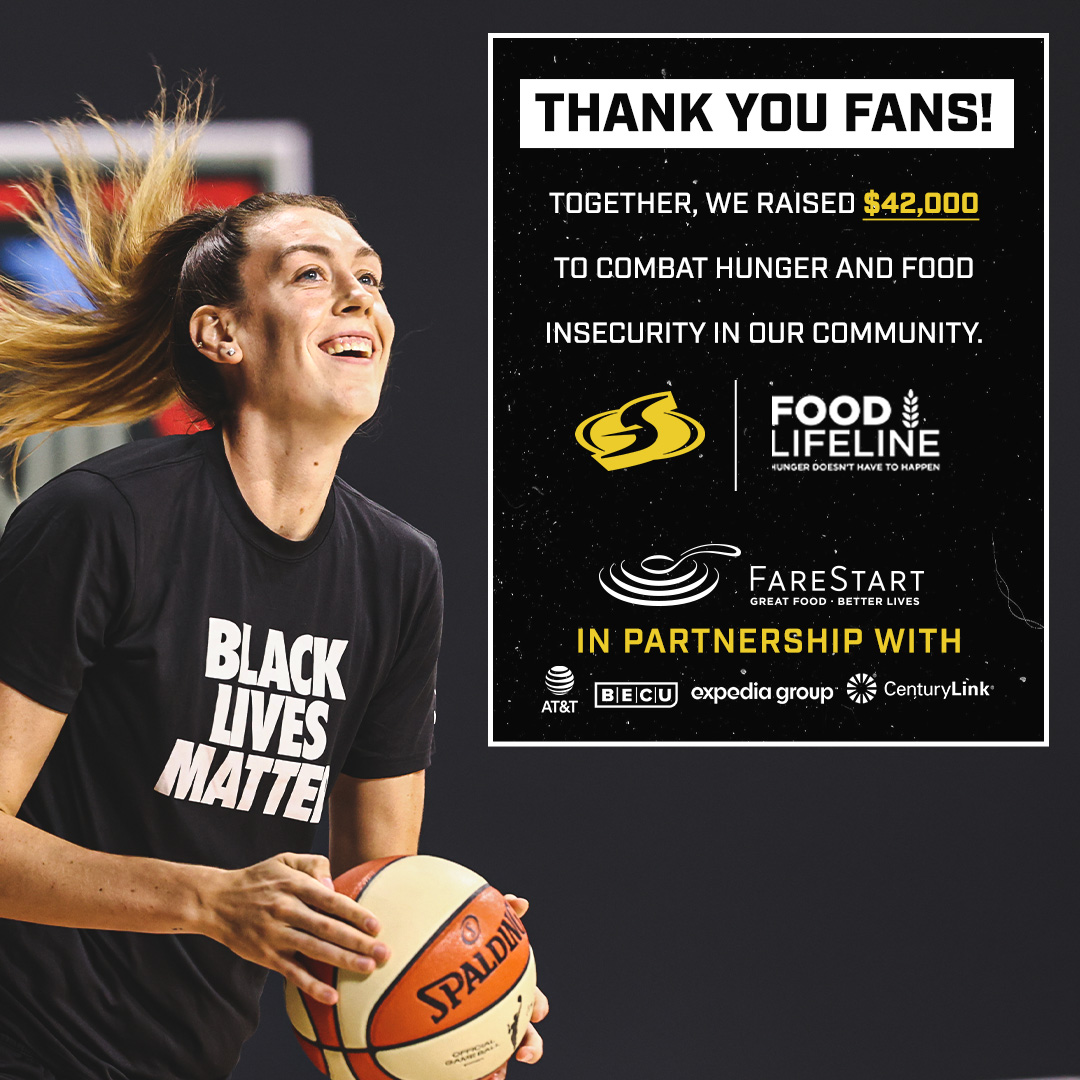 Thank you fans for teaming up with us to combat hunger and food insecurity for children, families and seniors in our community!   🙌  Together we raised $𝟒𝟐,𝟎𝟎𝟎!! 🙌   @farestart  @FoodLifeline   #WeGotThisSeattle https://t.co/LiAOayYvzB
