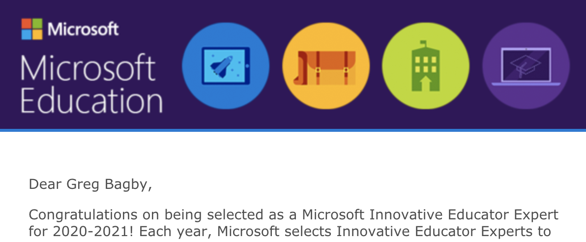 It was fun to see this roll up in my email box today. This year will be AMAZING. #IamNCCE #MicrosoftEdu #MIEExpert.