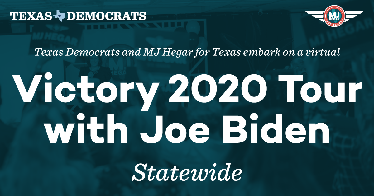 Give @JoeBiden a warm Texas welcome and join us for the next stop on our Victory 2020 Tour! Tune in to hear from @MJHegar, @JulianCastro, @ChrystaForTexas, and more Democrats running statewide 🎉 Were live: txdem.co/live