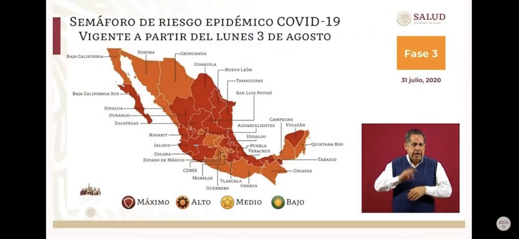 90 municipios de Veracruz en color naranja y ya podrían abrir ciertos lugares