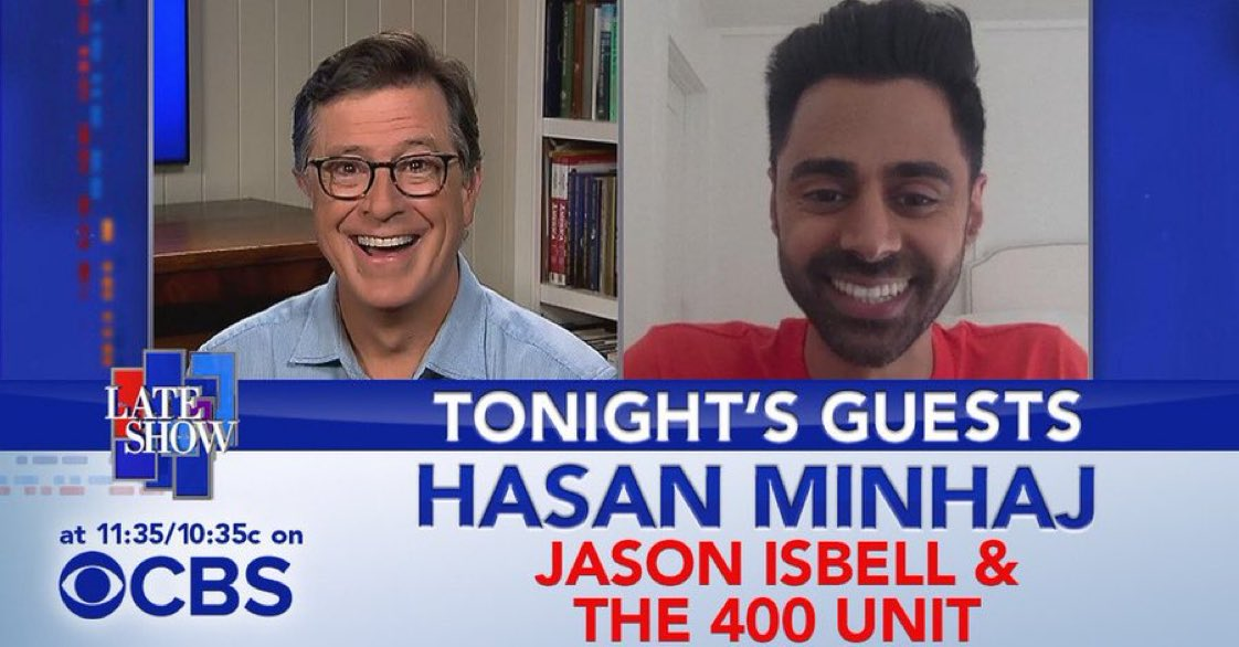 TONIGHT: Host of @patriotact, @hasanminhaj! Then a #PlayAtHome performance from @JasonIsbell and The 400 Unit! #LSSC